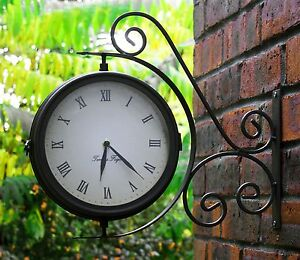 Image Is Loading Outdoor Garden Wall Clock Amp Thermometer Garden Yard