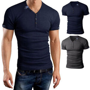 Mens casual shirt slim fit long sleeve v neck button for Best slim fit mens t shirts