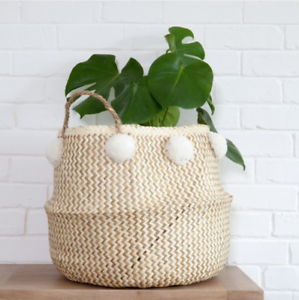 b952474d33 Image is loading Large-Natural-White-Pom-Pom-Belly-Basket-Seagrass-
