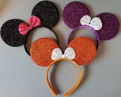 12 X Minnie Mouse Frontino Orecchie Costume Festa Hen Night 8 COLORI GLITTER
