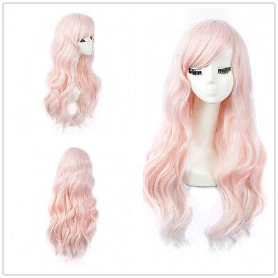 Long Wavy Light Pink Wig Women's Synthetic Hair Harajuku Anime Cosplay Wigs