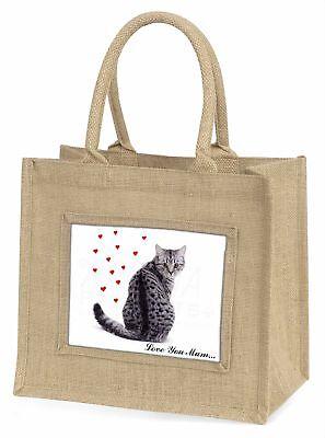 Katze mit rote Herzen 'Liebe, die Sie Mama' Große Natürliche Jute-einkaufstasche