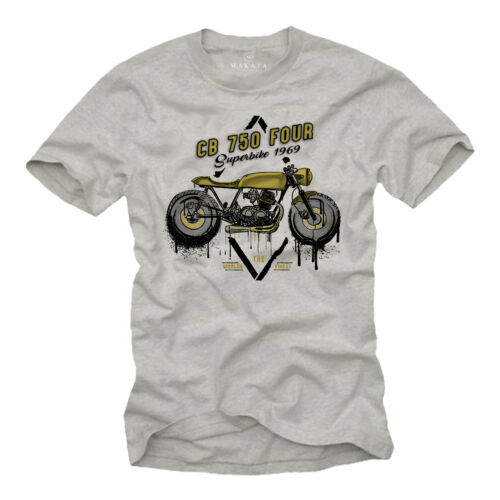SHORT SLEEVE MOTORCYCLE BIKER TEE CUSTOM CAFE RACER MENS T SHIRT WITH CB 750