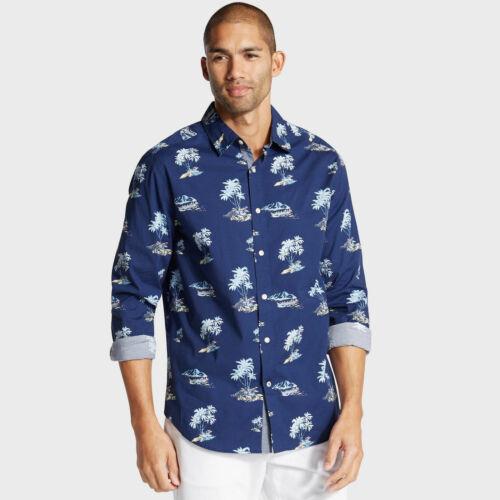 Nautica Mens Big /& Tall Palm Print Classic Fit Shirt