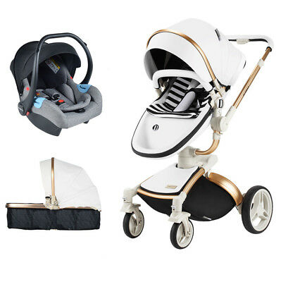 Baby stroller 3 in 1 Carriage 360° high view Travel Foldable pushchair/&car seat