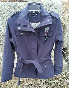 NWT-EOUS-HAMPTON-110-Soft-Shell-Riding-Jacket-Coat-w-Sash-Ties-Navy-SZ-XS