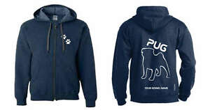 Exclusive Dogeria Design, outline Hoodie Selfless Pug Full Zipped Dog Breed