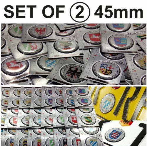 Saarland set of 2 German Number Plate Seal Stadt 3D Domed Sticker badge 45mm