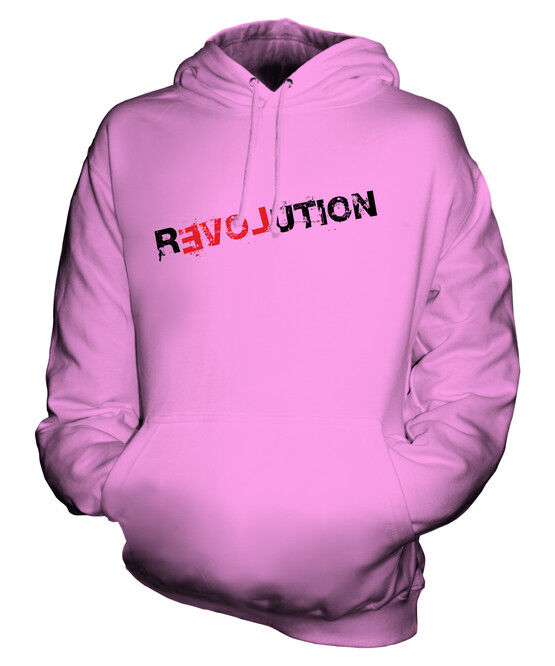 LOVE REVOLUTION UNISEX PRINTED FASHION HOODIE PEACE HIPSTER SWAG ROLLED SLEEVES