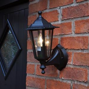 New victorian style outdoor electric black wall lamp garden door image is loading new victorian style outdoor electric black wall lamp mozeypictures Gallery