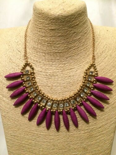 STATEMENT Long Large Gold PURPLE STONE Crystal Bib Chain Necklace Retro Vintage