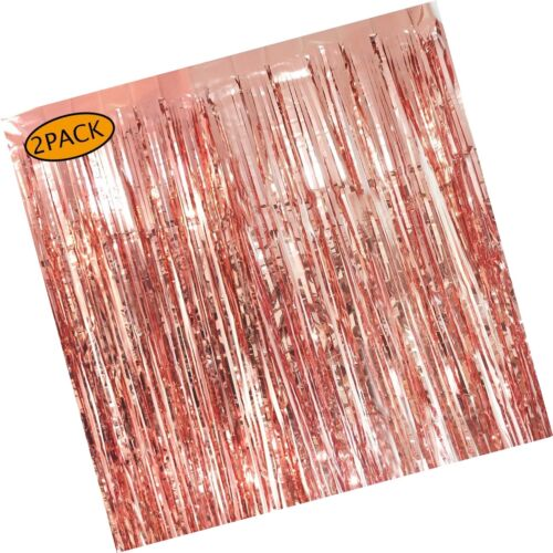 2 Pack Rose Gold Foil Fringe Curtains Photo Booth Backdrop 3x8 Ft Shiny Metal...