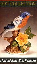 Musical BIRD/Yellow Flowers Porcelain NIB HP w/Lara's or Somewhere Over Rainbow