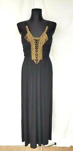 Lipsy-Black-Maxi-Dress-sz-14-Long-Sleeveless-Gold-Beads-Detail-Ruched-Racer-Back