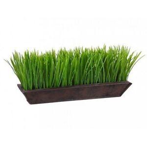 Artificial Grass Arrangement 6 Tall Plant 13 Long In Metal Pot In