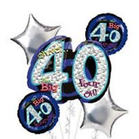 40th Birthday Party Balloon Bouquet 5ct