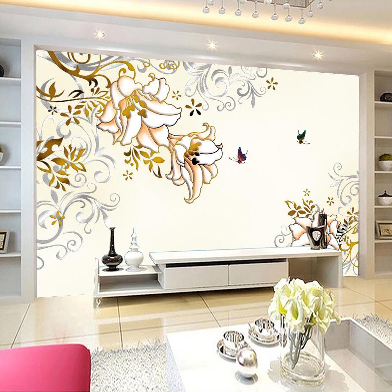 3D Butterfly Floral 87 Wallpaper Mural Wall Print Wall Wallpaper Murals US Carly