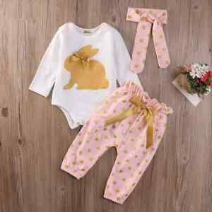 a6a00d8cc83f2 NEW Easter Bunny Gold Rabbit Baby Girls Bodysuit Pants Headband ...