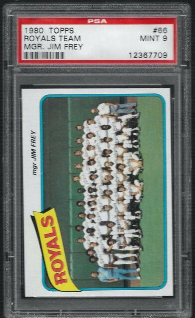 1980 Topps Kansas City Royals Team Card Jim Frey #66 PSA 9 MINT SET BREAK