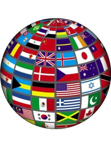 """Bandera de la novedad Globe 7.5/"""" Papel De Oblea Comestible Cake Topper Cumpleaños"""