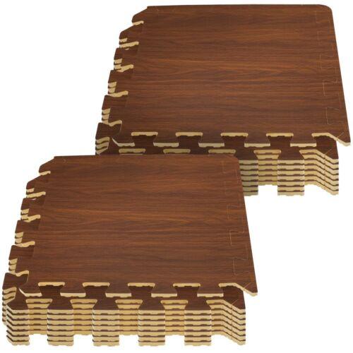 Wood Grain Print Sorbus Interlocking Floor Mat Cherry