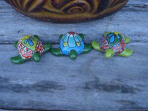 Turtles 3 Mini Turtles Mexican Talavera Ceramic Kitchen Patio Garden Decor