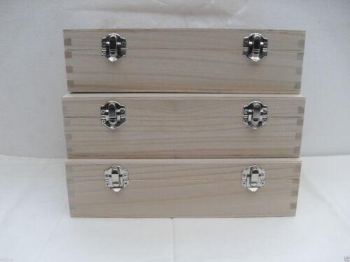 3 X Cajas Lisa 6 compartimentos con bisagras de cierre 2 25.5 X 14.5 X 7.5 Cm Decoupage