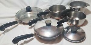 10-Piece-REVERE-WARE-COPPER-CLAD-SET-Bottom-Stock-Pots-Pans-Skillets-Lids-a4