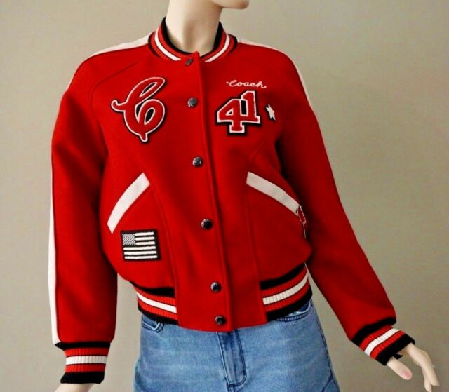2b9b5ca847 Frequently bought together. Coach Women s Red Wool Varsity Patches Jacket  ...