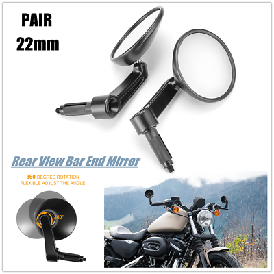 Color : Black 7//8 22mm Bar End Rear Mirrors Motorcycle Accessories Motorbike Scooters Rearview Mirror Side View Mirrors Moto for Cafe Racer Side Mirrors