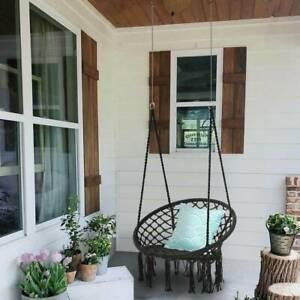 Hanging Hammock Rope Swing Chair Macrame Hammock Seat Outdoor Indoor Garden Uk Ebay