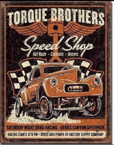 Vintage Replica Tin Metal Sign Torque brother speed shop custom hot rod car 2032
