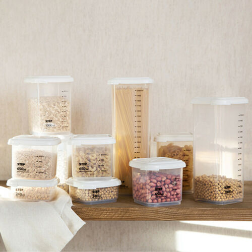 AIRTIGHT CLEAR SQUARE FOOD STORAGE SEALING CAN JARS CANISTERS CONTAINERS FADDISH