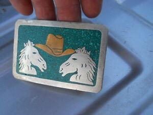 Vintage Horse Heads Cowboy Hat Inlay Western Belt Buckle Alpaca Mexico