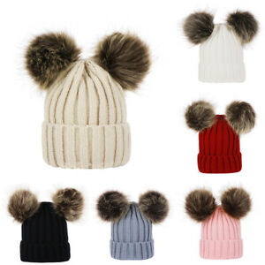 d9ebd4fa443bc UK Kids Baby Boys Girls Beanie Hat Cap Winter Warm Double Fur Pom ...