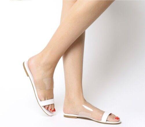 Damen Office Sandy Zweiteilige Sandalen Weißes Leder Durchsichtig Sandalen
