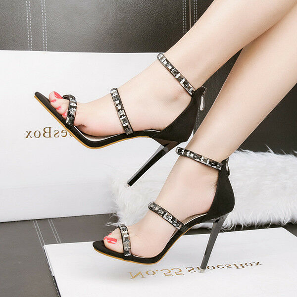 Sandali eleganti tacco stiletto 11 cm nero simil pelle eleganti 9837