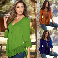 New Women Casual Blouse Chiffon Long Sleeve Ladies Lace T shirt Loose Short Tops