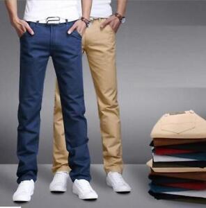 10 Clolors Algodon Para Hombre Formal Empresa Pantalones Slim Fit Pantalones Recta Lisa Ebay