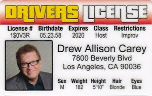 DREW-CAREY-star-of-the-Price-is-Right-plastic-collector-card-Drivers-License