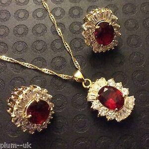 SET-Red-Ruby-Sim-Diamond-Gold-GF-Matching-Necklace-Earrings-Oval-Cut-BOXD-PlumUK