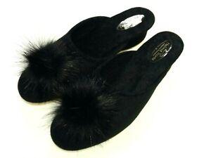 Helmut-Trunte-Damen-Schuhe-Hausschuhe-Pantoffeln-Pantolette-25040-schwarz-Quaste