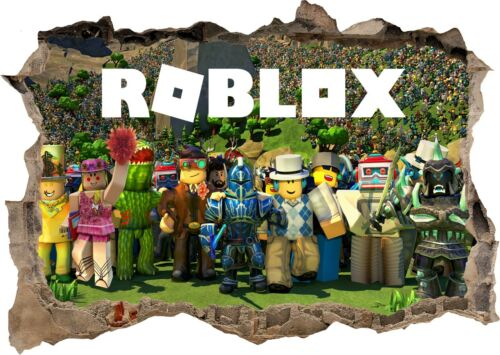 ROBLOX Gang des personnages de dessins animés 3d Smashed Mur Vue STICKER Poster Mural Art 752