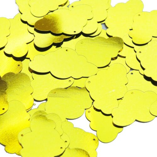 Yellow Metallic Shiny Sequin Cloud 1.5 inch Couture Large Paillettes