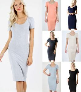 5572696d7657f USA Women s Basic Long Midi Pencil T-Shirt Dress Casual Soft Stretch ...
