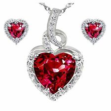 "Created Ruby Heart Pendant Necklace Earring Set Solid Sterling Silver 18"" Chain"