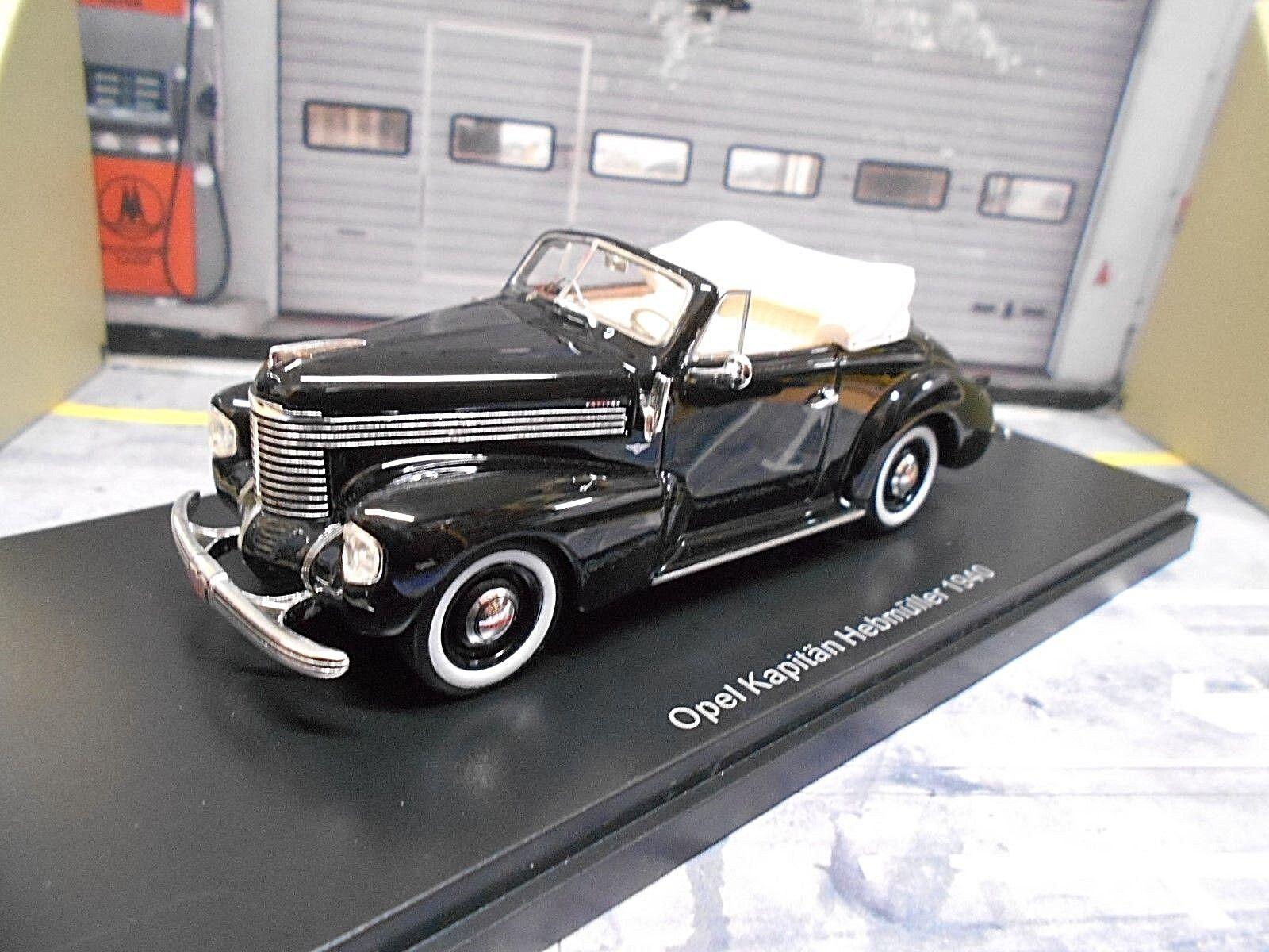 OPEL Kapitän 39 Hebmüller Cabrio Cabriolet 1938 - 1940 schwarz schwarz  NEO 1 43