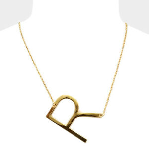 Initial necklace side letter r thin large monogram 175 image is loading initial necklace side letter r thin large monogram aloadofball Images