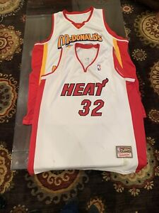 Shaq-O-039-Neal-Miami-Heat-32-LeBron-James-McDonalds-2-Jerseys-hardwood-Sz-54-Sewn