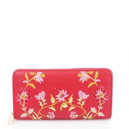 Femmes Brodé GB003 Floral Sac à Main Zip Around Femmes Téléphone Cash Monnaie portefeuilles
